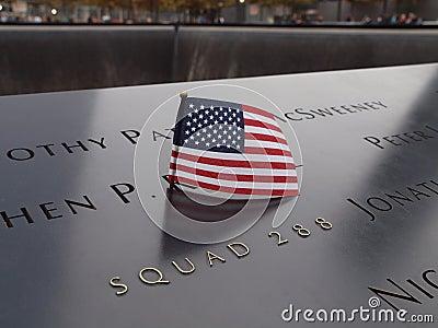 World Trade Center Memorial Flag Editorial Stock Image