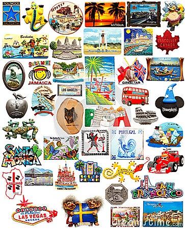 Free World Travel Fridge Magnets Stock Images - 25208524