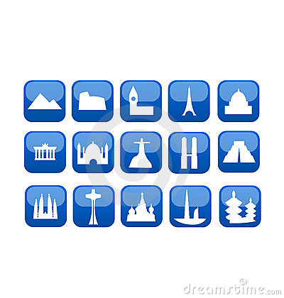 World travel landmarks icon set