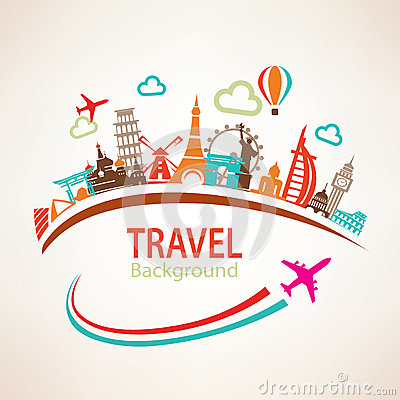 Free World Travel, Landmarks Silhouettes Royalty Free Stock Photos - 52126018