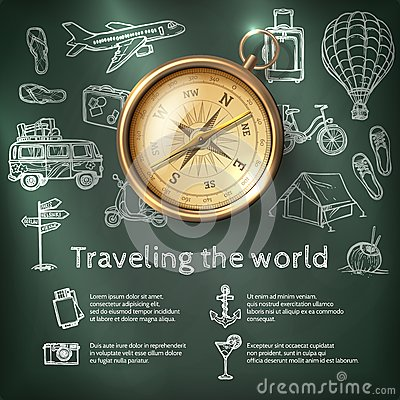 Free World Travel Poster With Compass Royalty Free Stock Photography - 48990097