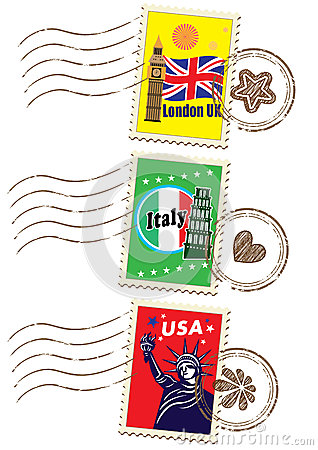 World travel stamp set