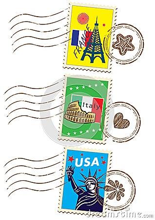 World travel stamp set