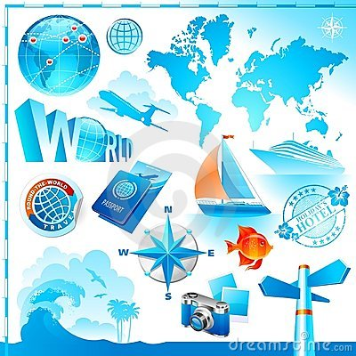World & travel vector set