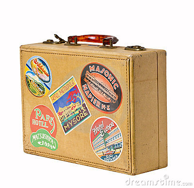 World Traveler - A retro vintage suitcase Editorial Stock Photo