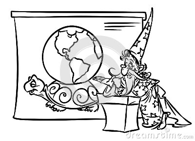 World view cartoon illustration