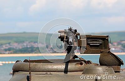 World War 2 Machine gun on green tank