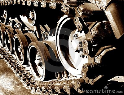World War 2 Tank Tracks and Drive Sprocket Wheel