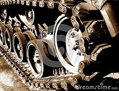 Tank Tracks and Drive Sprocket Wheel