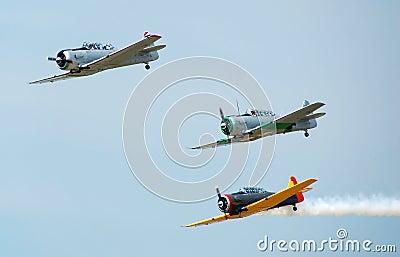 World war aerial battle reenactment