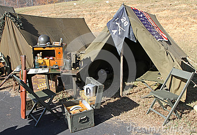 World War II Army Camp Display Editorial Image