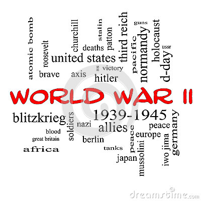 World War II Word Cloud Concept in Red Caps