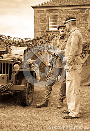 World War 2 Soldiers with jeep Editorial Stock Photo