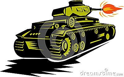 World war two battle tank firing