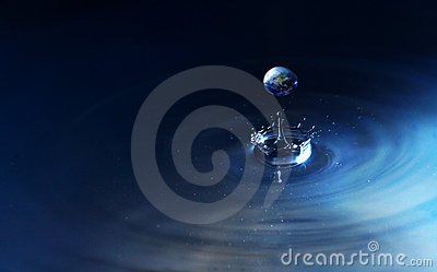 World in water drop