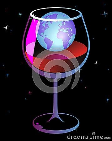 World in wineglass