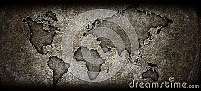 Worldmap on a steel background