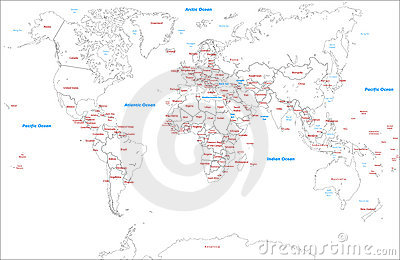 Worldwide Map political-Illustration-vector maps