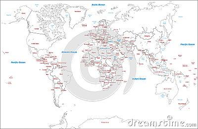 Worldwide Map political-Illustration-vector maps