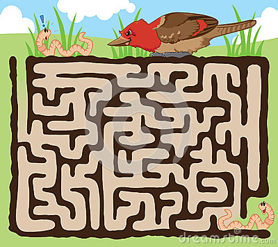 Free Worm And Bird Maze Game Royalty Free Stock Photo - 30405195