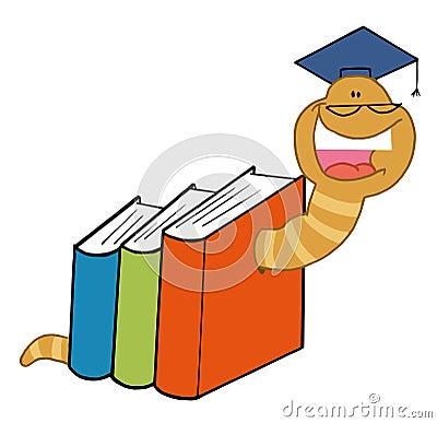 Worm graduate crawling through colorful books