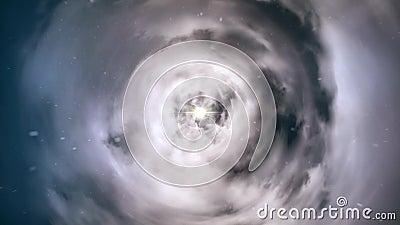 Wormhole rechtstreeks door tijd en ruimte, wolken, en miljoenen sterren Kleurrijke Ruimtevaartanimatie Afwijking rechtstreeks stock videobeelden
