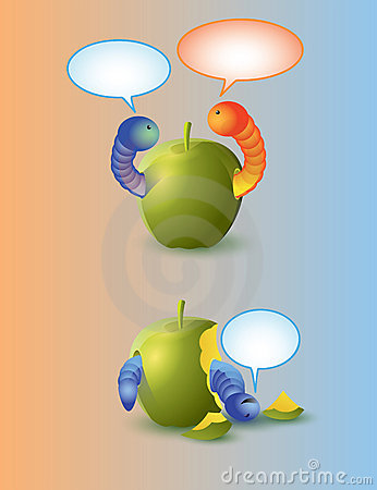 Worms and apple