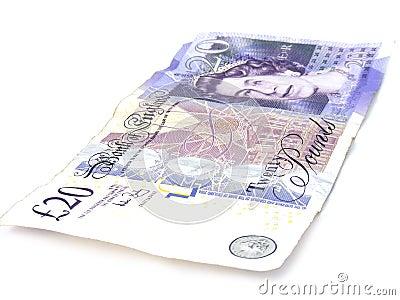 Worn 20 pound note Editorial Photo