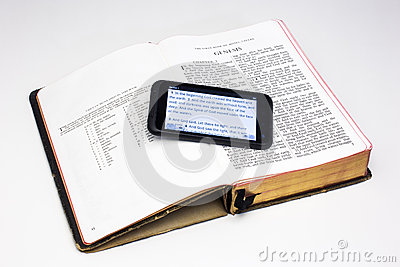 Worn Bible and Smartphone - Genesis