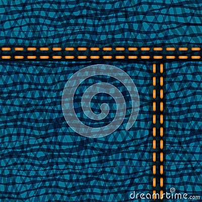 Worn blue denim jeans texture, vector background