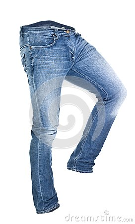 Worn blue jeans isolated