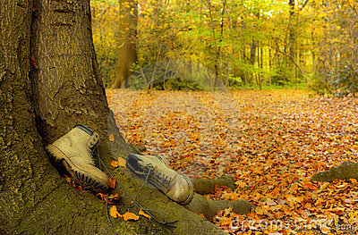 Worn boots in autumn
