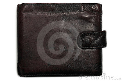 Worn grungy reddish black grunge leather wallet