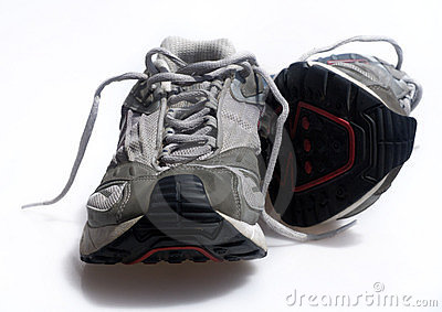 Worn old sneaker trainers