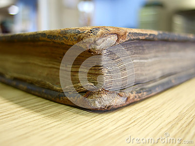 Worn out old book edge
