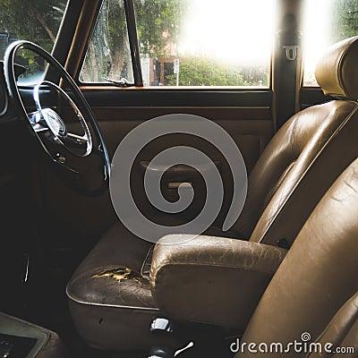 worn vintage leather auto interior stock images image 29001484. Black Bedroom Furniture Sets. Home Design Ideas