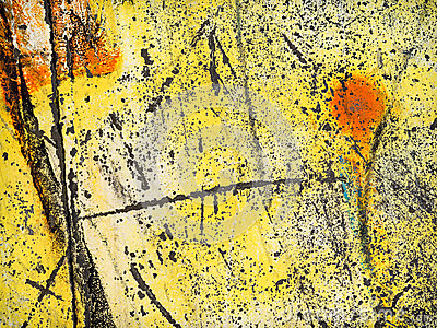 Worn yellow paint