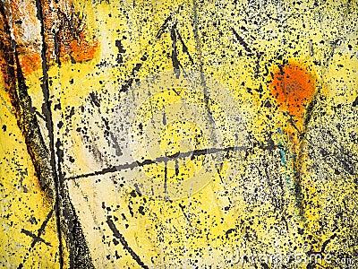 Worn yellow paint
