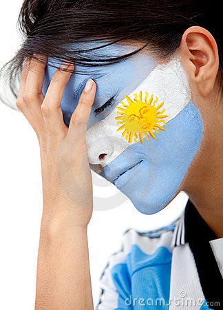 Worried argentinean football fan
