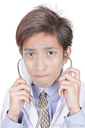 Worried Asian doctor portrait