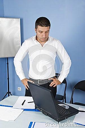 Worried business man in office
