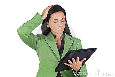 Worried businesswoman reading