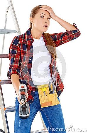 Free Worried DIY Handy Woman Stock Photos - 33780293