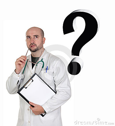 Worried doctor with pensive gesture