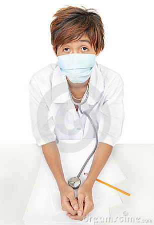 Worried doctor w surgical mask