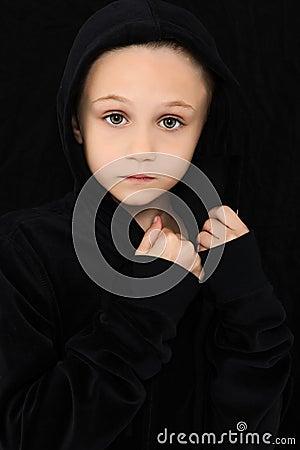 Worried Girl in Black