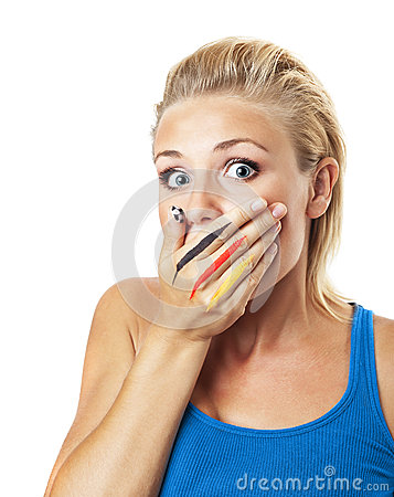 Worried girl football fan