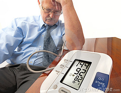 Worried senior man with high blood pressure.