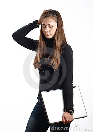 Worried student girl