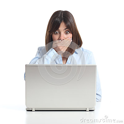 Free Worried Woman Watching A Laptop Stock Photo - 53113090